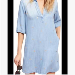 Anthropologie Dresses - Anthropologie Cloth & Stone Gold-Dot Chambray Dres